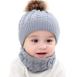 LtrottedJ 2Pcs Toddler Baby Girls Boys Winter Warm Knitted B