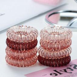 9PCS Fall Gel Stretch Plastic Spiral  Hair Ties Band Coil Hi
