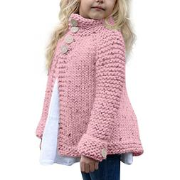 FEITONG Toddler Kids Baby Girls Outfit Clothes Button Knitte