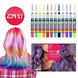 FUNDIY Hair Chalk for Girls Hair Chalk Pens of 12 Brilliant
