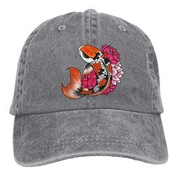 Unisex Adjustable Dad Cap Trucker Hat Koi Fish Cowboy Baseba