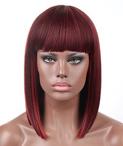 Kalyss Bob Short Hair Wig for Black Women Wine Red Mixed Col