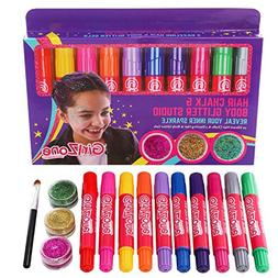GIFTS FOR GIRLS: Hair Chalk & Body Glitter Gels. Makeup Set