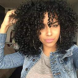 "14"" Black Afro Curly Hair Wigs Short Kinky Curly Wig Heat Rs"