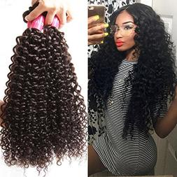 Longqi Beauty Unprocessed Brazilian Curly Virgin Hair 3 Bund