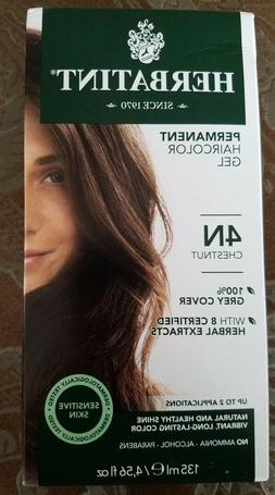 Herbatint Permanent Herbal Haircolor Gel, 4n-Chestnut brown,