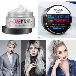 Popular Unisex Silver Grey Wax hair model Pomade Gel Mud Lon