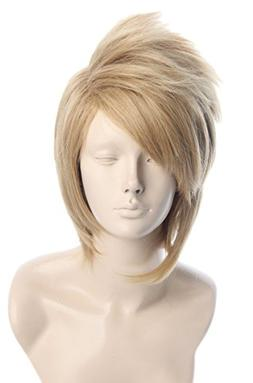 Topcosplay Short Layered Anime Cosplay Wigs Blonde Costume W