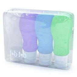 Silicone Travel Bottles - 3 oz Travel Size Containers, Set o