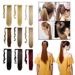 Straight Curly Wavy Wrap Around Ponytail Hair Extension Clip