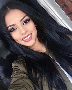 ForQueens Synthetic Long Straight Hair Wigs Black color Full